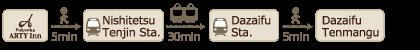 40 minutes by train from Hotel Fukuoka Arty Inn